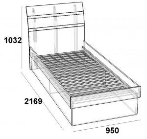Кровать 900 Царга скарлет