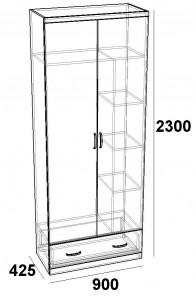 Шкаф двухдверный с ящиком FB-900 Фортуна