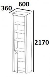 Шкаф открытый 1D Denver схема