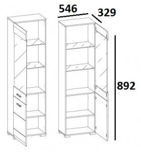 Шкаф с витриной 1V1D TYP10 City схема