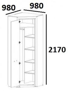 Шкаф угловой с полками Denver схема